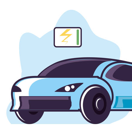 car sedan transportation with symbol energy vector illustration design