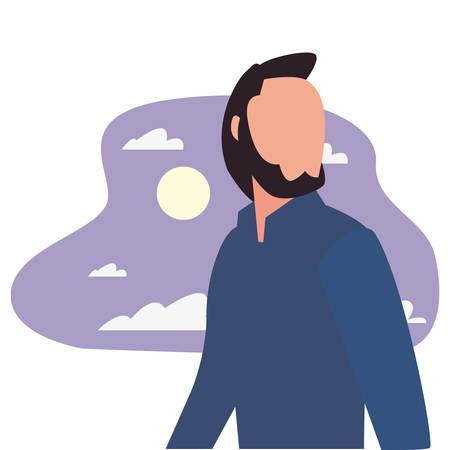 man character night moon background vector illustration