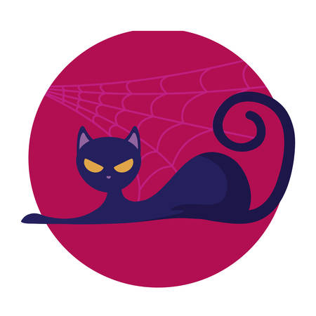 cat feline animal of halloween vector illustration