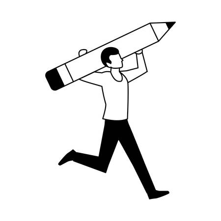 man with pencil to write on white background vector illustration design