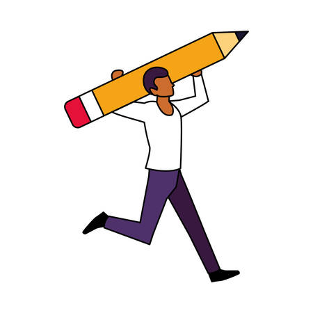 man with pencil to write on white background vector illustration design Imagens - 135449883