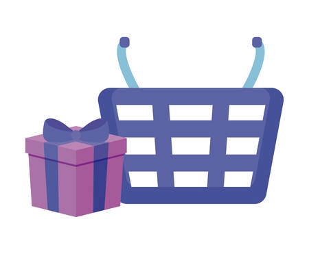 shopping basket with gift box isolated icon vector illustration design Stock Illustratie
