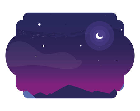 sky night beautiful scene vector illustration design