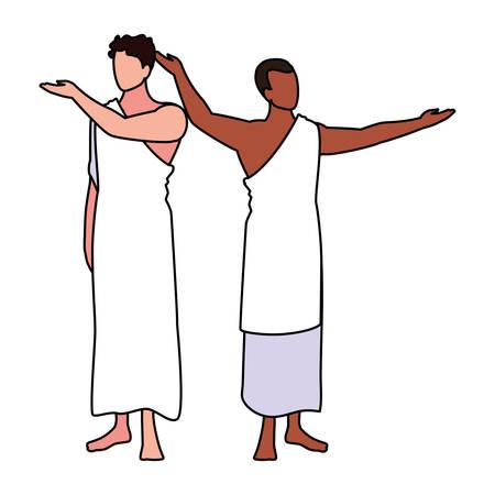 men pilgrim hajj on white background vector illustration design