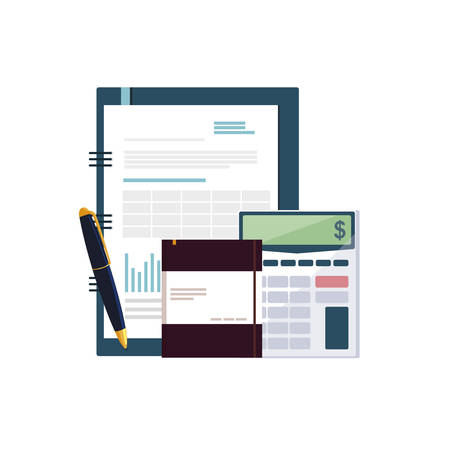 office supplies with calculator and set items vector illustration design Ilustração