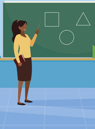 black female teacher with textbook and chalkboard vector illustration design Ilustracja
