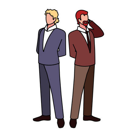 businessmen standing with various views and pose vector illustration design Illustration