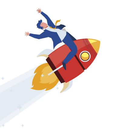 elegant businessman celebrating in rocket startup vector illustration design