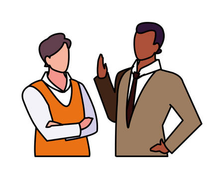 cute businessmen with various views and poses vector illustration design