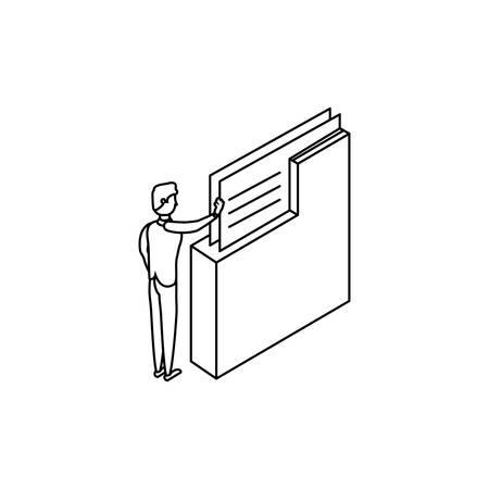 businessman worker with folder documents vector illustration design Illustration
