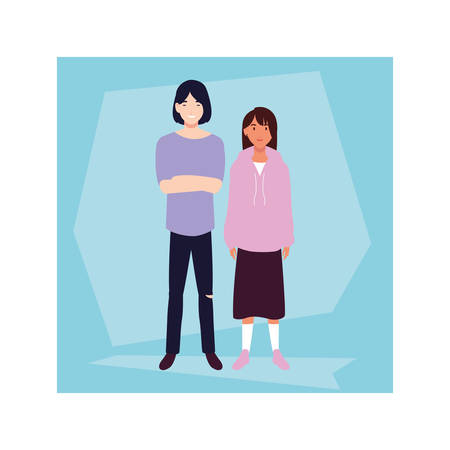 couple of people smiling standing vector illustration design