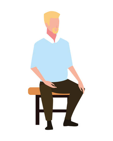 young man sitting in chair on white background vector illustration design