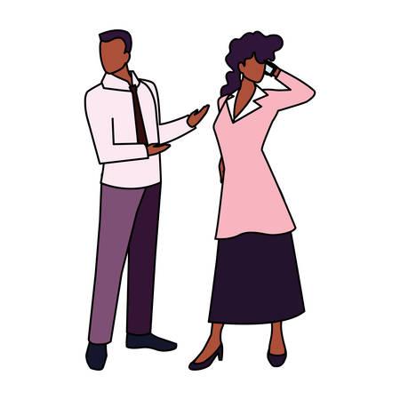 business couple standing on white background vector illustration design Illustration
