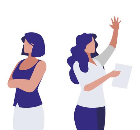 elegant businesswomen avatars characters vector illustration design Illustration