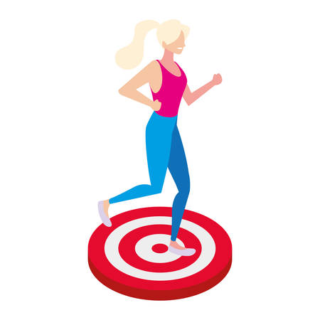 woman with target shooting in white background vector illustration design Ilustracja