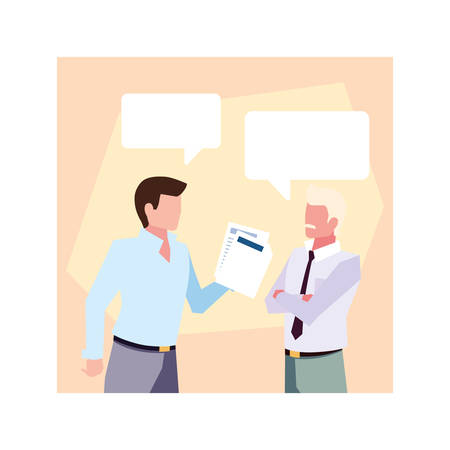 businessmen in the work office with speech bubble , business professional men vector illustration design Illustration