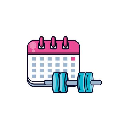 dumbbell sport with calendar reminder vector illustration design