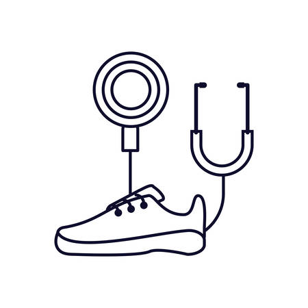stethoscope medical with sport shoe vector illustration design Çizim