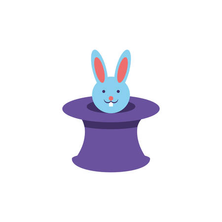 wizard hat with cute rabbit on white background vector illustration design Ilustracja