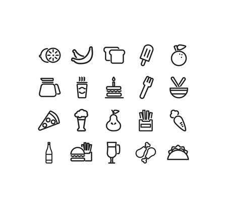 icon set pack design, food drinks eat restaurant menu dinner lunch cooking and meal theme Vector illustration Illusztráció