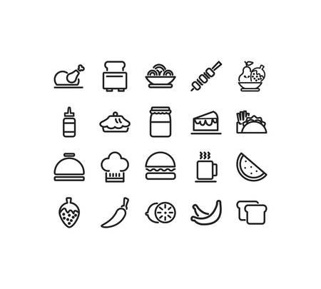 Conjunto de iconos de diseño de paquete, alimentos, bebidas, menú de restaurante, cena, almuerzo, cocina y tema de comida, ilustración vectorial Ilustración de vector