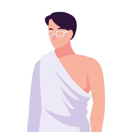 man pilgrim hajj on white background vector illustration design