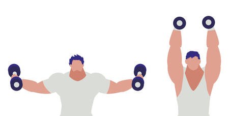 athletic men weight lifting characters vector illustration design