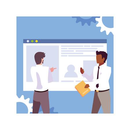 businessmen in meeting , planning and marketing research vector illustration design Ilustração