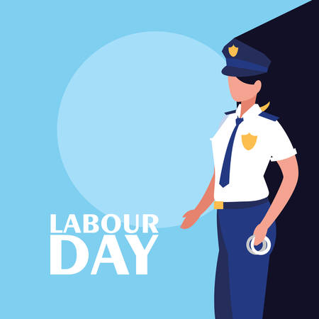 labour day celebration with police female vector illustration design Ilustração
