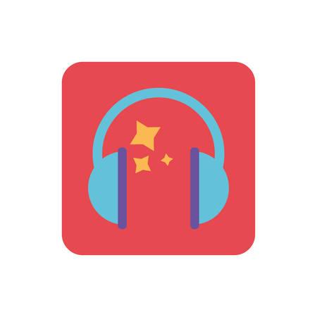 headband headphones on white background vector illustration design