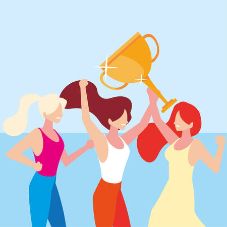young women with gold trophy vector illustration design