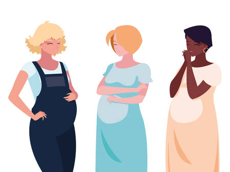 interracial group of pregnancy women characters vector illustration design 向量圖像