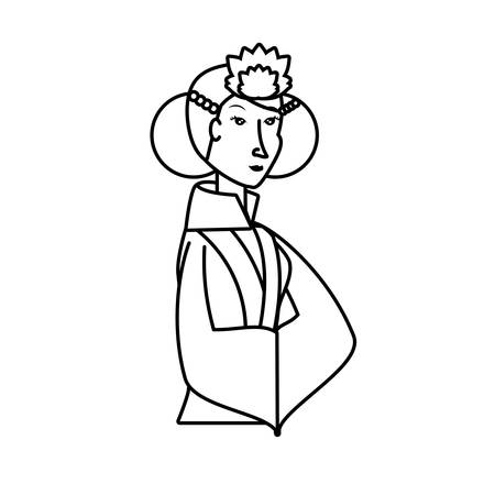 geisha woman avatar character vector illustration design