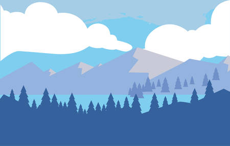 mountains with forest snowscape scene vector illustration design 일러스트