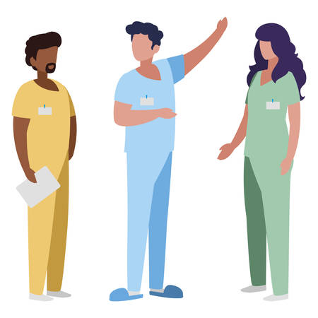 interracial group medicine workers with uniform characters vector illustration design Çizim