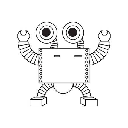 cartoon robot icon over white background black and white design vector illustration 矢量图像