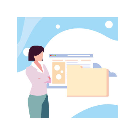 businesswoman standing, , planning and marketing research, business professional woman vector illustration design