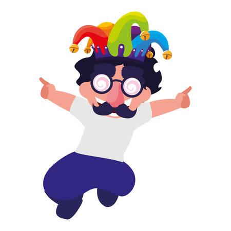 Niño feliz con máscara, diseño de ilustraciones vectoriales locas