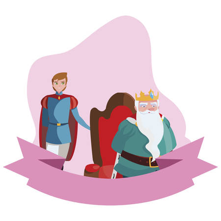 prince charming with king on throne characters vector illustration design Ilustracje wektorowe