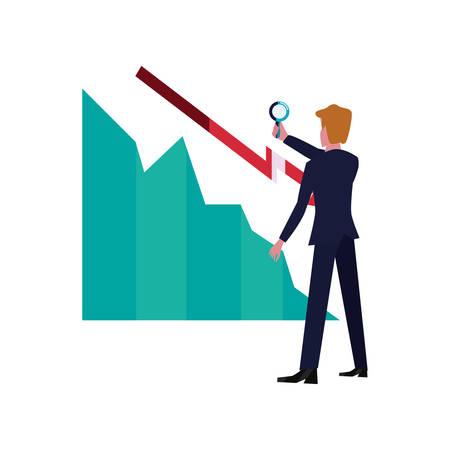 businessman with magnifier decrease chart vector illustration Vettoriali