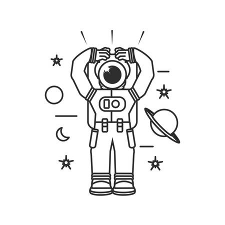 astronaut suit with hands up and set icons vector illustration design Illustration