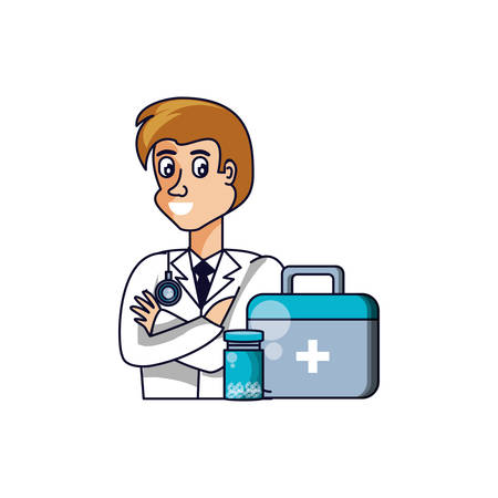 doctor professional with first aid kit vector illustration design 일러스트