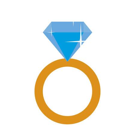 pierścionek zaręczynowy z diamentowym projektem ilustracji wektorowych