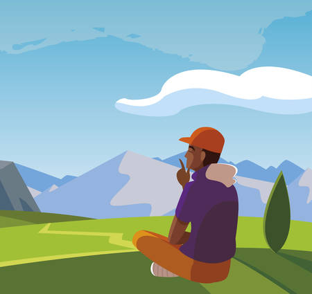 afro man contemplating the horizon in the field scene vector illustration design