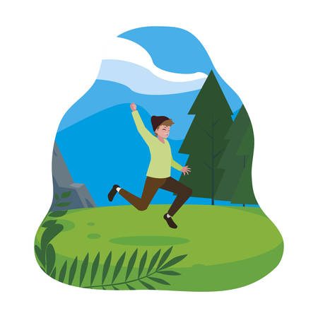 happy young man celebrating in the camp vector illustration design 스톡 콘텐츠 - 135722516