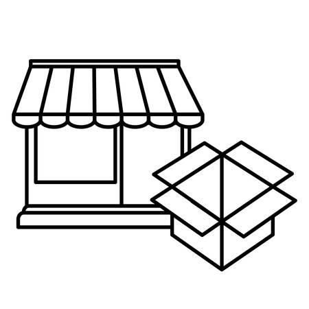 store facade building with carton box vector illustration design