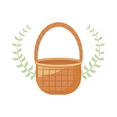wicker basket with leaves branch vector illustration design