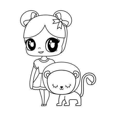 cute little doll with lion animal vector illustration design