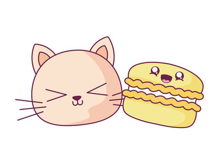 Cat and cookie cartoon design, Kawaii expression cute character funny and emoticon theme Vector illustration