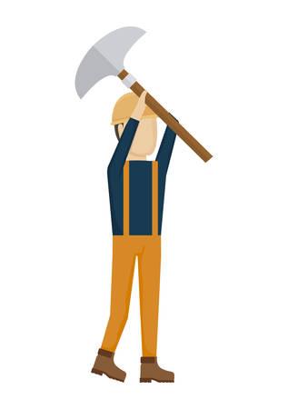trabajador de la construcción, hombre, con, martillo, avatar, carácter